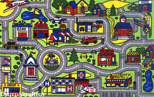 43 X66 Area Rug Kids Play Road Map Street Driving Time