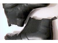 Dealer/Chelsea style Boots (laceless) Black, Size 8/9, Good Condition