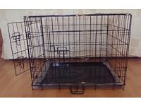 "Dog Crate / Puppy Cage 30"" Medium Black With Metal Tray NEW"