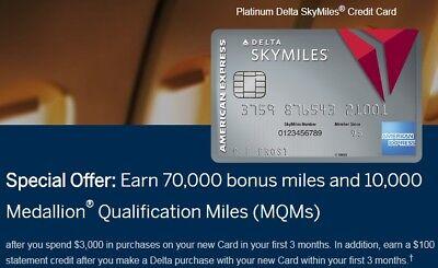 AmEx Platinum SkyMiles Credit Card 70,000 BONUS Miles $100 Credit Companion Pass