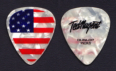 Ted Nugent Signature US Flag White Pearl Guitar Pick #2 - 2012 Tour