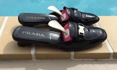 PRADA BLACK PATENT LEATHER BUCKLE DETAIL SLIP ON FLAT Sz 36.5B MADE IN ITALY