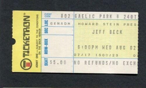 1972 Jeff Beck BOC Argent Concert Ticket Stub Gaelic Park New York Rough Ready