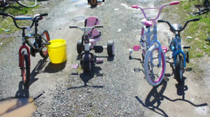 Small children's tricycles and bicycles 5 to 15 each