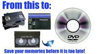 VHS, Mini DV, Hi8, 8MM cassette to DVD