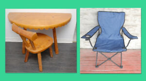 1/2 Pine table w/matching chair & portable chair F/S