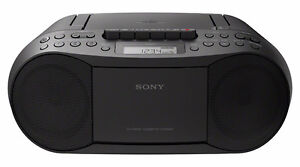 Sony Stereo CD/Cassette Boombox Radio, Black (CFDS70BLK)