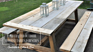 Beautiful Hand Crafted Outdoor Harvest Table & Bench