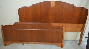 Vintage Solid Wood Double Headboard & Footboard With Side Rails