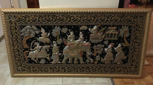 Antique gorgeous framed tapestry from Southeast Asia