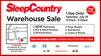 Mattress Warehouse Sale - Sat, July 18 - 1 Day ONLY