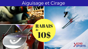 RABAIS de 10$ sur AIGUISAGE et CIRAGE de skis / snow