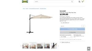 Brand New Sealed IKEA Offset Patio Umbrella with Base