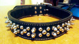 Blk Spiked leather dog collor Lg/XL
