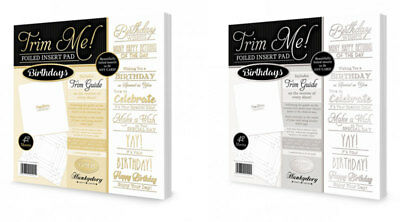 Hunkydory - Trim Me! Foiled Insert Pads - Birthdays Gold & Silver - TRIMINS001&2