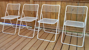 Set of 4 Vintage Folding Wire Chairs