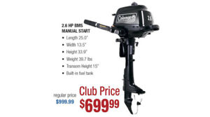 Coleman Outboard Motors 2.6, 5, 9.8hp