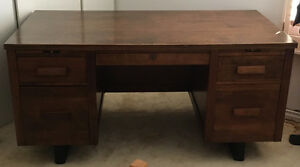 Oak Wood Desk School Teacher Office Vintage Mid Century
