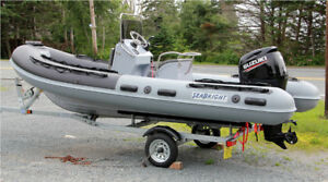 17 Foot Fiberglass Hulled HYPALON RIB -- Fully Rigged !!