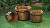 Apple Barrel Wood Flower Pot Planter Set of 3 Diff Sizes New