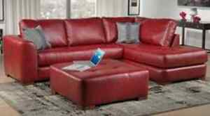 Red leather sectional 2pc
