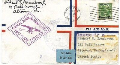 Kanal Zone: 1931; Abdeckung, First Flight, Feb 12, Usa-Canal-Venezuela EB0131 - 12 Kanal Abdeckung