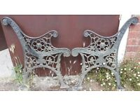 Pair Of Ornate Cast Iron Garden Bench Ends With Lion Mask Design