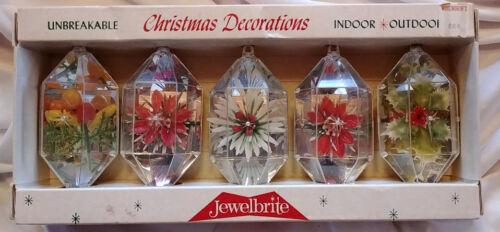 Vtg JEWELBRITE Dioramas - Box of 5 - Fruit - Poinsettia - Holly - Flowers