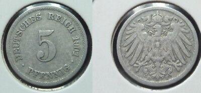 5 Reichspfennig - 1901 F - Deutsches Reich - Kaiserreich    (683)