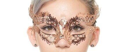 Rose Gold Metal Venetian Masquerade Mask with Clear Rhinestones