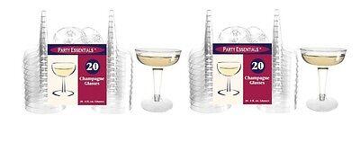 Plastic Glasses For Parties (Plastic Champagne Glasses 40 Count, Disposable For Elegant Parties,)