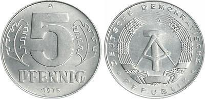 5 Pfennig DDR 1975 A Probe Chromstahl 2,58g. f.st fast Stempelglanz