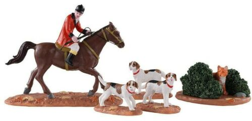 Lemax Fox Hunt Christmas Village Collectible w/Horse, Man, 3 Dogs & Fox Hiding