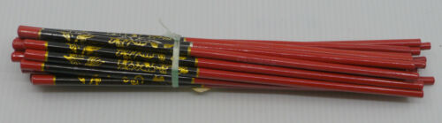 12 PAIRS OF VINTAGE RED & BLACK LACQUER CHOPSTICKS, MINT IN PACKAGE, GOLD DECOR