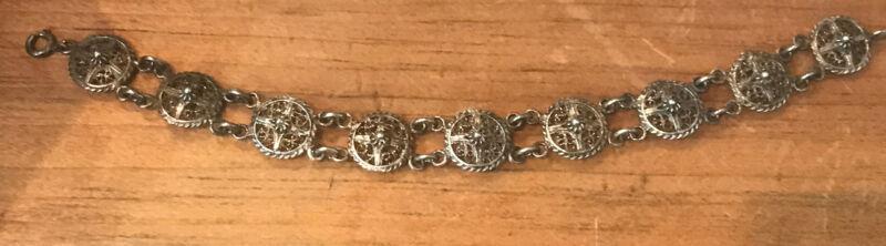 """800 Silver Vintage Antique Cannetille & Filigree Panel Link Bracelet 7 1/2"""""""