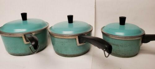 Vintage CLUB Turquoise Aqua Blue Cast Aluminum Cookware Set 3 Saucepans Lids