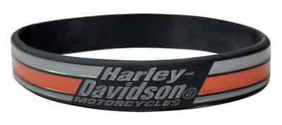 Harley-Davidson Debossed Racing Stripes Silicone Wristband, Black WB18364