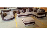 Good Quality Corner Sofa + Swivel Chair & footstool. Can deliver