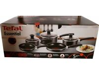 NEW Tefal Essential Cookware Cooking Set - Black 5 Pieces Set - Still in Original Box, Never Used