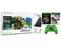 Xbox One S 1TB Console Minecraft Bundle, Two Games, Creeper Controller and Stand
