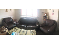 Excellent dark brown 3+1+1 sofas + FREE coffee table