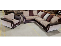 Corner Sofa & Chair - Beige/Brown. Can deliver