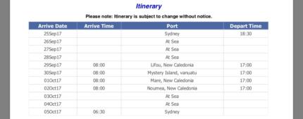 Carnival Cruise to Vanuatu TOMORROW