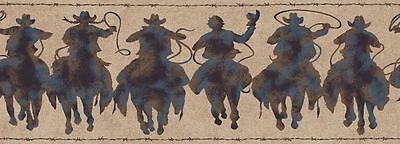 Western Rodeo Cowboy Patina Silhouette Riders Wallpaper Border HJ6683BD