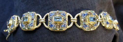 "New Sterling Vermeil Bracelet Chinese Style Topaz Enamel Barbara Garwood 7 3/4"""