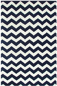 Hand made Chevron Wool Area Rug - navy blue and white