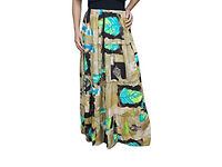 Ladies Tiered Skirt Florence Leaf Brown Printed Gypsy Maxi Skirts S-XL