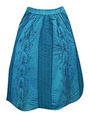 Womens Skirt Bohemian Blue Lace Panel Embriodered Gypsy Skirt