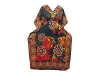 Mogul Interior Womens Evening Caftan Black Printed Maxi Dress Boho Cover Up Kaftan XXL