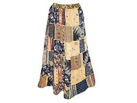 Mogul Interior Ladies Long Bohemian Skirt Vintage Patchwork Rayon Large